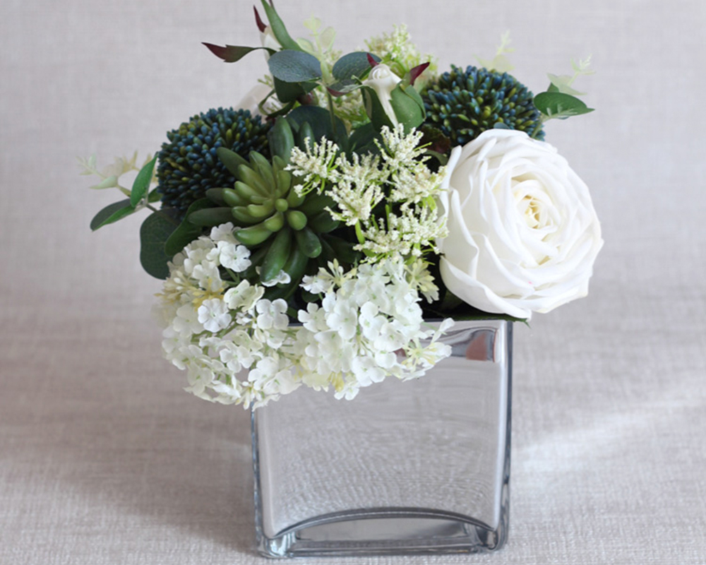 Mixed Silk Flowers Arrangement In Mirrored Vase Medablooms