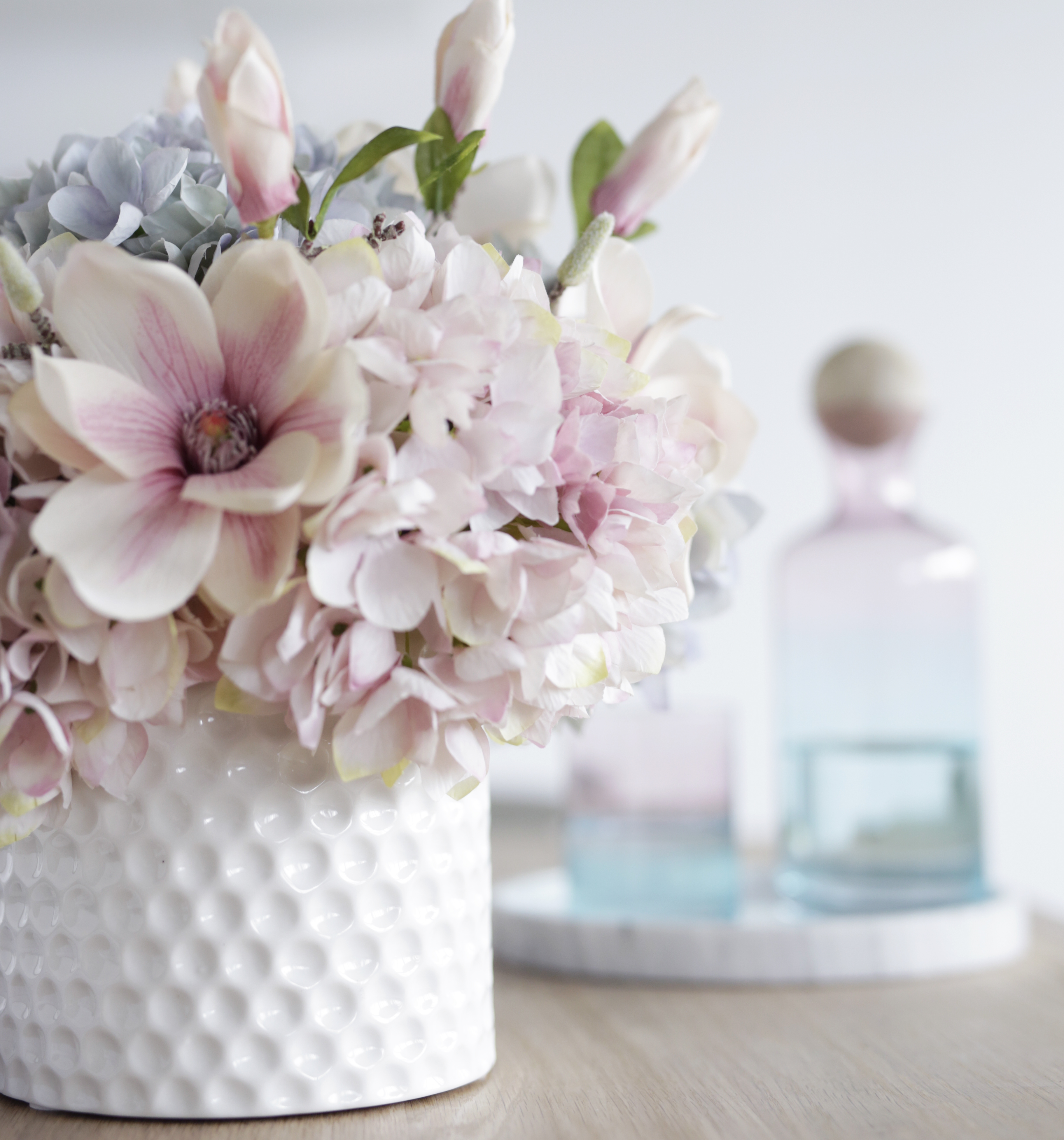 Faux Hydrangea And Magnolia In Ceramic Vase Medablooms