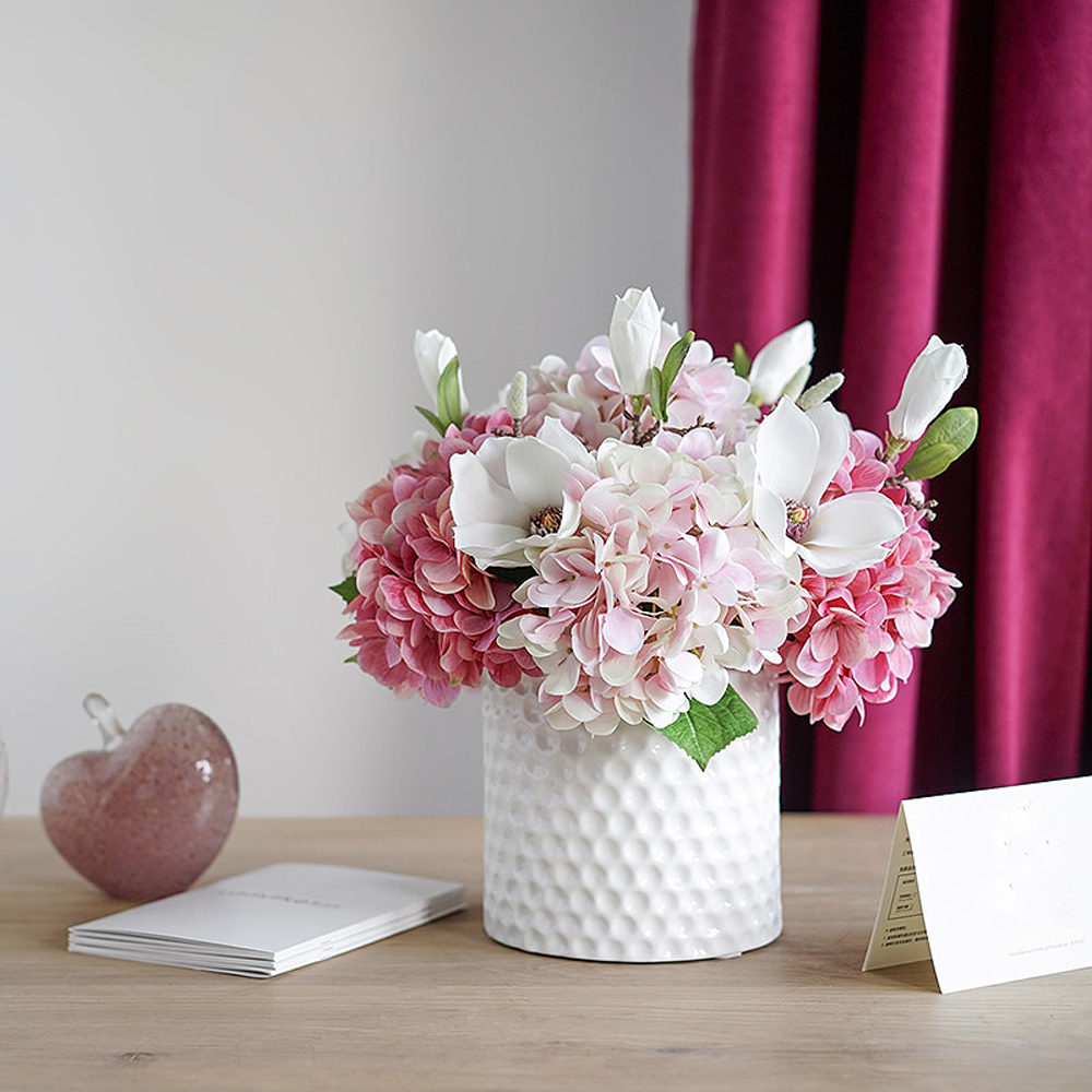 Faux Hydrangea And Magnolia Flower Arrangement In White Ceramic Vase Medablooms